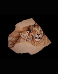 Lioness and cubs Sandstone 20 H X 23 W   3000.00