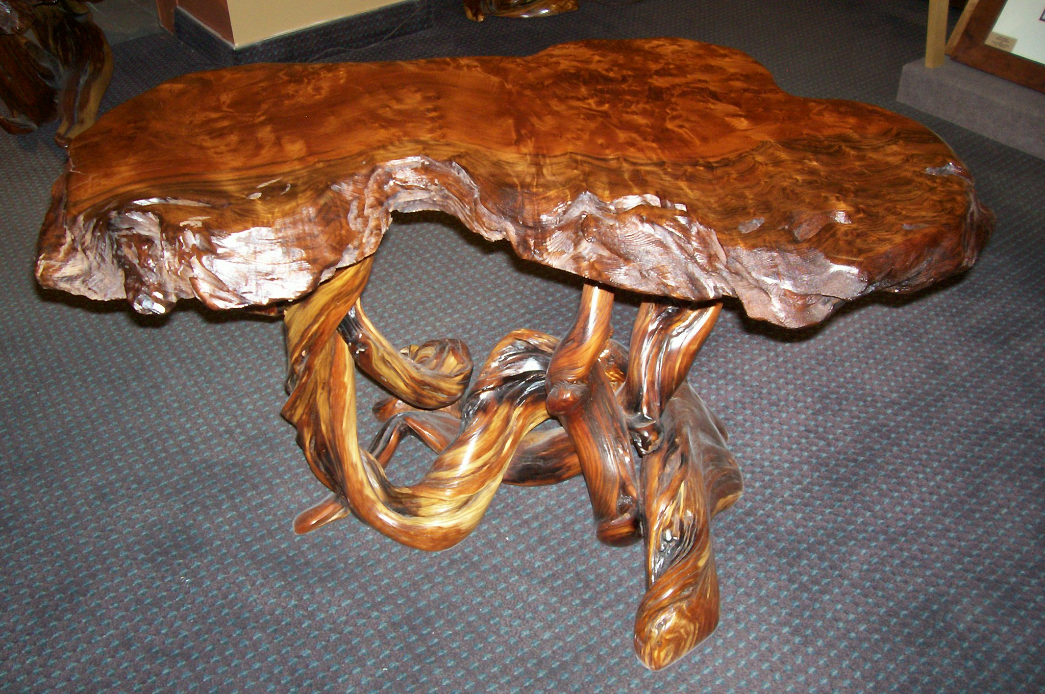 Superieur SOLD U2013 End Table Redwood With Juniper Base